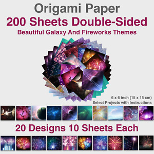 200 pcs 20 Vibrant Designs Double Sided Galaxy Fireworks Origami Paper 6x6 inch