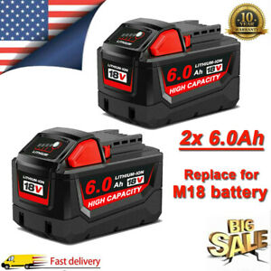 2PACK For Milwaukee M18 Lithium XC 6.0AH Extended Capacity Battery 48 11 1860 US