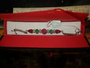 ruby emerald sterling silver bracelet from Brazil 8 inches long $60.00