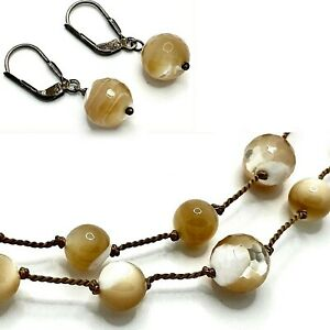 Vintage MOP Bead Choker Necklace 2 Strand 17 Inch Pierced Earrings Knotted Cord $36.95