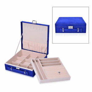 Blue Velvety Briefcase Style 2-Tier Jewelry Box Scratch Protection Interior