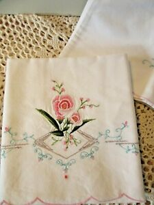 PAIR OF VINTAGE EMBROIDERED PILLOW CASES