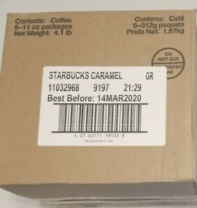 Case of 6 Starbucks Caramel Flavored Ground Coffee 11 OZ Bags Medium Roast 3/20