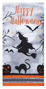 HAPPY HALLOWEEN Witch Kitchen Towel - Dual Purpose Flat Weave Front, Terry Back