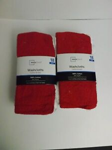 NEW Mainstays 18 pack washcloths - Green/Red X 2