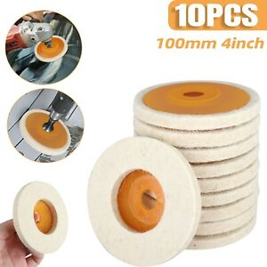 10Pcs 100mm 4 Inch Wool Buffing Angle Grinder Wheel Felt Polishing Disc Pad Set