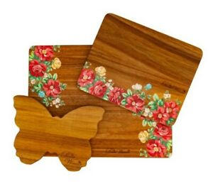 The Pioneer Woman 3 Piece Acacia Cutting Board Set, Vintage Floral