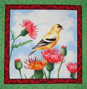Sweet Melody Goldfinch fabric panel square quilting cotton quilt block $5.75