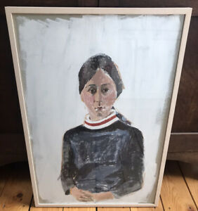 Original vintage Framed painting Portrait Of Woman on Board Modigliani Style $300.00