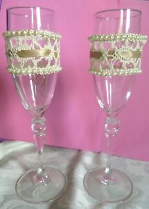 2 Champagne Wine Glass FLUTES 8 3/4