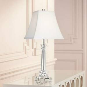 Traditional Table Lamp Crystal Glass Column for Living Room Bedroom Bedside