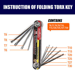 10 PC Tamper Proof Star Key Set Folding Locking Torx security screwdriver T6 T30