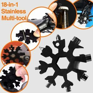 18in1 Snowflake Shape Stainless Tool Multi Tool Key Chain Screwdriver Portable #