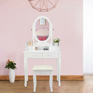 Vanity Makeup Dressing Table Set 4 Drawer&Jewelry Mirror Cabinet Wood Desk White