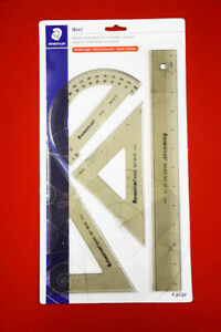 Staedtler Ruler 4 Piece Set Combination With Ruler Protractor Triangles $14.00