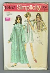 Simplicity 8457 Size 16 18 Large Misses Womens Nightgown Vintage Pattern $12.95