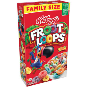NEW KELLOGGS FAMILY SIZE FROOT LOOPS CEREAL 19.4 OZ (550g) BOX FREE SHIPPING BUY
