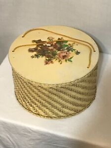 Harvey Sewing Storage Box Pink Woven Basket Vintage 1950s Lid with Flower Decal $24.49