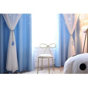 Blackout Curtains Double-layer Starry Curtains Floor Curtain Kids Bedroom Decor