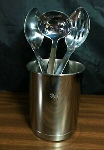 Roys Yamaguchi Fusion Stainless Steel 4 Piece Cooking Utensil Holder Spoon Set