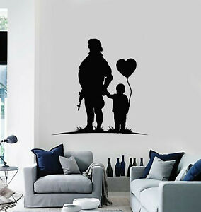 Vinyl Wall Decal Child Heart Balloon Soldier Military Weapon Stickers (g2680)