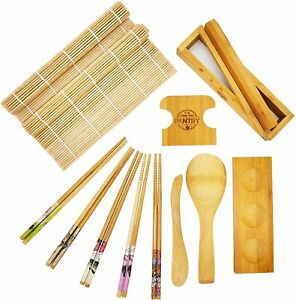 Sushi Making Kit Deluxe With Rolling Mats, Rice Paddle, Chopsticks