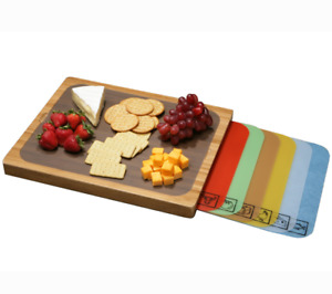 SEVILLE CLASSICS BAMBOO CUTTING BOARD AND 7 COLOR CODED CUTTING MATS