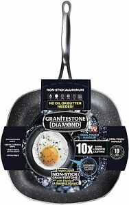 Granite Stone 9.5 Nonstick Triple Coated Mineral Enforced Square Frying Pan NEW