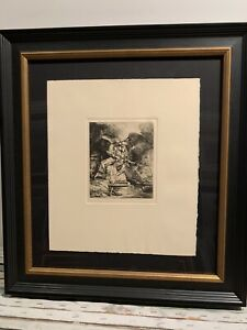 "Rembrandt ""Christ Before Pilate"" Etching Museum Plexi Framed Rare Make Offer $550.00"