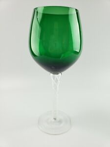Rare Vintage Wine Glass Emerald Green hand blown with twisted stem $17.50