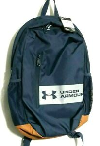 Under Armour Casual Backpack Blue w Gray Strip Brown Base New w Tags $26.35