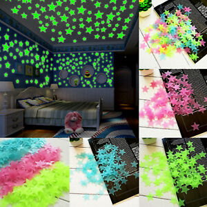 200PCS 3D Stars Glow In The Dark Luminous Fluorescent Wall Sticker Kids Room DIY