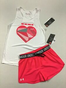 Under Armour Size Large XL NWT Girls Tank Top Play Up Shorts Outfit Pink White $22.67