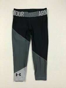Under Armour NWT S M L XL Youth Girls Hg Color Block Ankle Crop Leggings Gray $20.24
