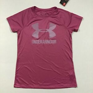 Under Armour NWT Size L XL Girl's Youth UA Loose Big LOGO Top Pink Pace 669 $13.76