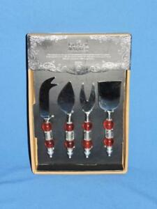 The Global Market 4 Piece Cheese Set Red Bead Flat Serve Party Snack Set NEW