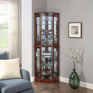 Ashfield Lighted Wood Glass Curio Corner Cabinet Floor Standing