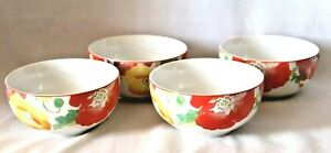 222 Fifth Jolly Poppy Soup Cereal Bowls Porcelain Large Floral New