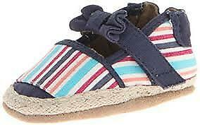 robeez 12 18 mths girls shoes slippers canvas uppers stripes espadrille look $16.00