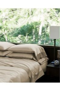 $570 SFERRA Full/Queen Flat Sheet And Standard Pillowcase Set 2600 Larro Nougat