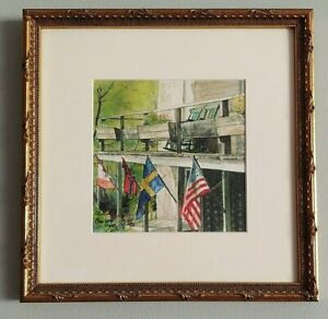 Framed Print quot;Four Flagsquot; Flag Art Watercolor Giclee #24 Of 50 Size 11#x27;#x27;x 11#x27;#x27;