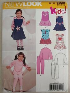 Simplicity New Look Pattern 6929 Kids Girls Dress Pants Top Sewing Sizes 3 8 $6.99