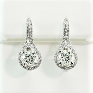 2.75 CT. SI1-G GENUINE DIAMOND HALO DESIGN EUROWIRE EARRINGS 18K WHITE  GOLD
