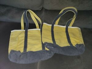 NWT LL Bean vintage washed soft canvas tote lot 2 yellow blue reusable bag two