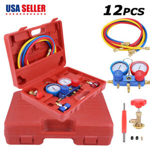 R134A HVAC A C Refrigeration Kit AC Manifold Gauge Set Car Auto Service Kit