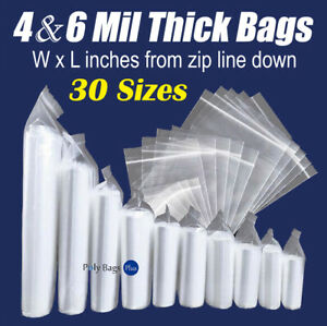 Thick 4 Mil Reclosable Bags HEAVY DUTY Seal Zip Top Plastic Zipper Poly Ml $14.33