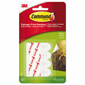 Command Poster Hanging Strips, 12 Strips, White, 5/8