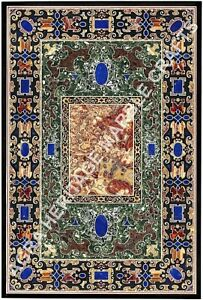 7'x4' Pietra Dura Design Marble Living Room Table Top Lapis Inlaid Outdoor E763A