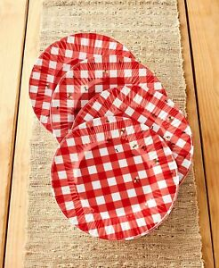 Set of 4 Salad Plates Red & White Gingham Pattern w/ Bees Ladybugs & Ants