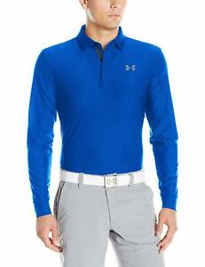 NEW Under Armour Men's Playoff Long Sleeve Golf Polo LG Blue Graphite NWT 9153 $34.99
